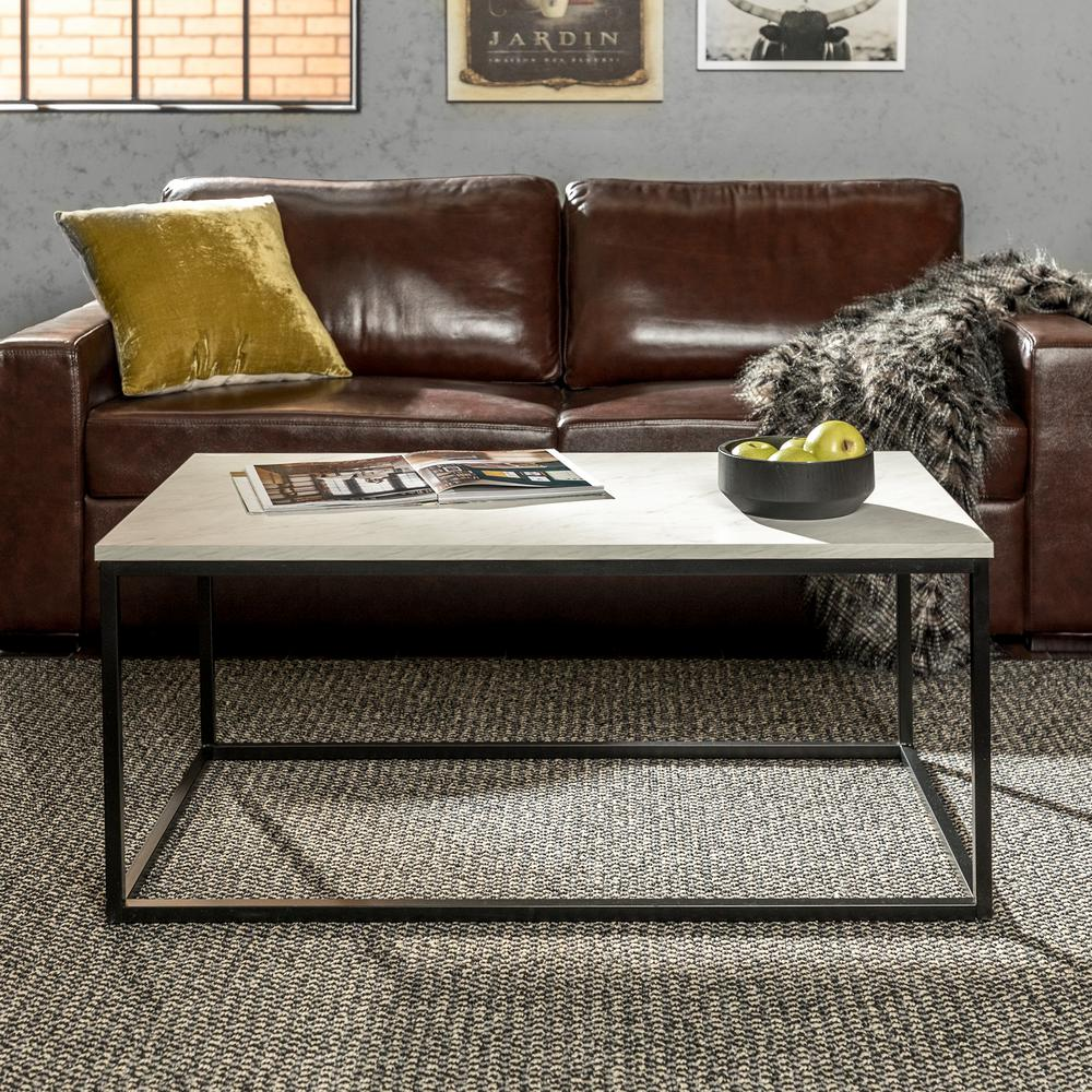 Walker Edison Furniture Company Mixed Material Coffee Table - Marble