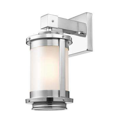 Blair 1-Light Brushed Steel Wall Sconce with Frosted Glass Shade