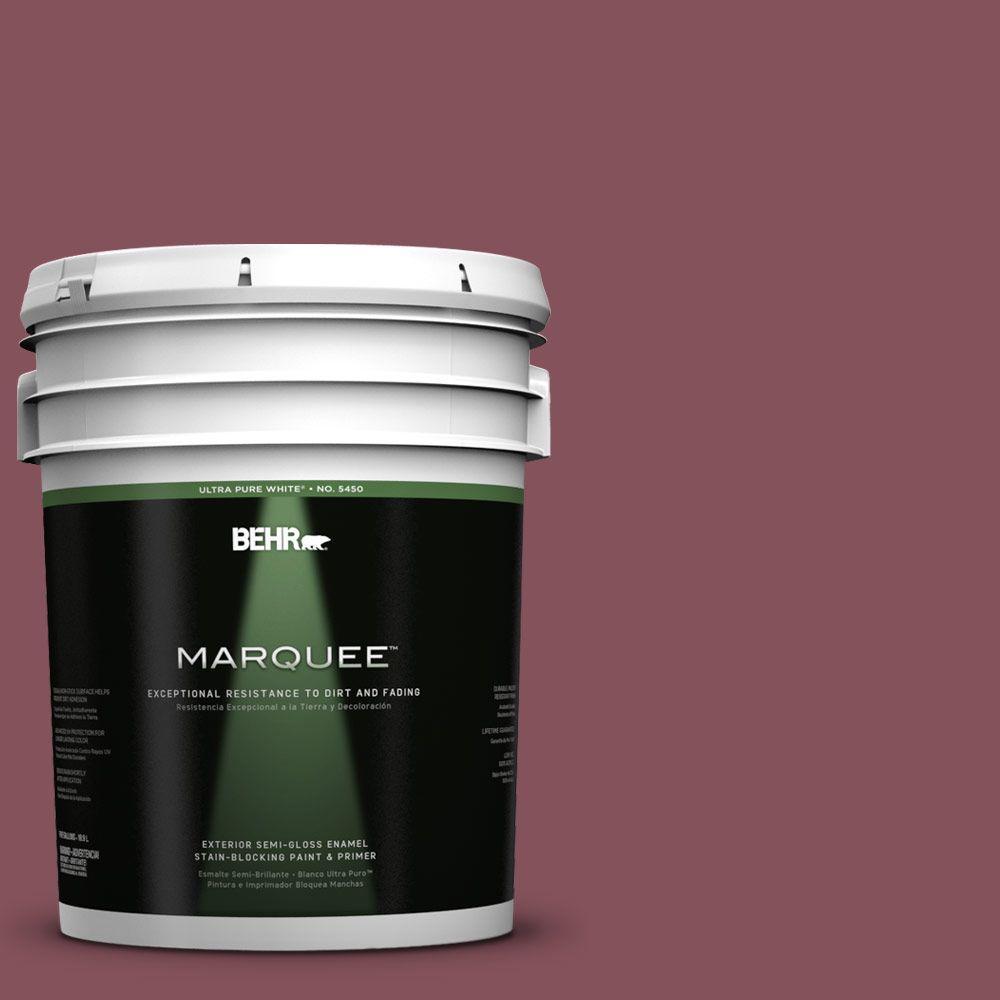 BEHR MARQUEE 5-gal. #PPU1-15 So Merlot Semi-Gloss Enamel Exterior Paint