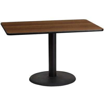 30 in. x 48 in. Rectangular Walnut Laminate Table Top with 24 in. Round Table Height Base