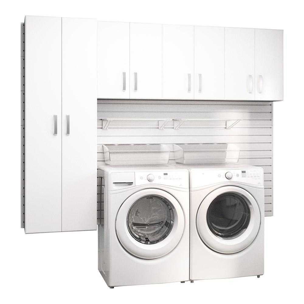 Flow Wall Modular Laundry Room Storage Set With Accessories In White 4 Piece