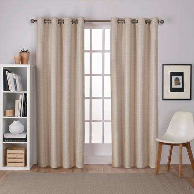 Raw Silk 54 in. W x 96 in. L Woven Blackout Grommet Top Curtain Panel in Taupe (2 Panels)