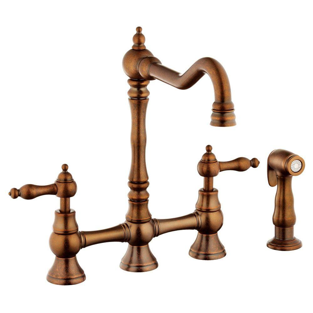 Belle Foret 2-Handle Bridge Kitchen Faucet with Metal Lever Handles in Tumbled Bronze