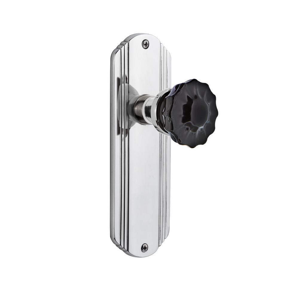 Deco Plate Single Dummy Crystal Black Glass Door Knob in Bright Chrome