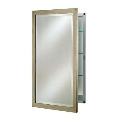 Single Door 16 in. x 26 in. Recessed Medicine Cabinet Basix Brushed Silver