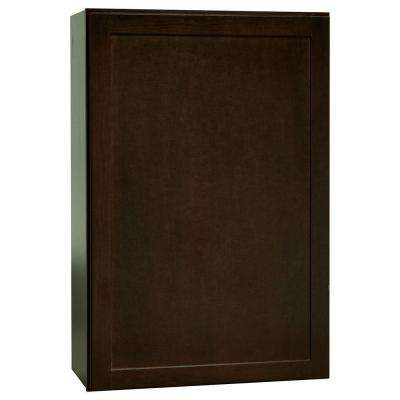Shaker Assembled 24x36x12 in. Wall Kitchen Cabinet in Java