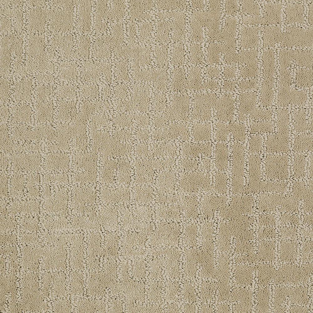 Carpet Sample - Latice - Color Barley Pattern 8 in. x 8 in.