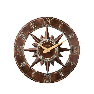 27 in. H x 27 in. W Aged Bronze Metal Case Round Indoor Outdoor Wall Clock