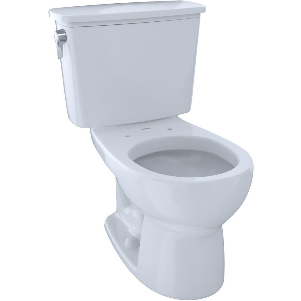 Toto Eco Drake Transitional 2 Piece 1 28 Gpf Single Flush Round Toilet In Cotton White