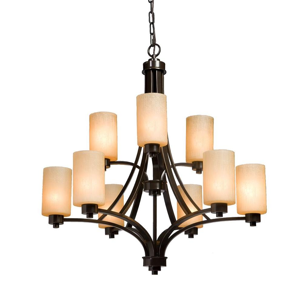 ARTCRAFT Parkdale 9-Light Oil Rubbed Bronze Chandelier Parkdale 9 lite 2 tier chandelier features its clean and simple design complimented with amber glassware in rubbed oiled bronze finish