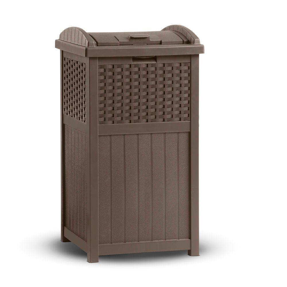 Suncast Resin Wicker Trash Hideaway Ghw1732 The Home Depot