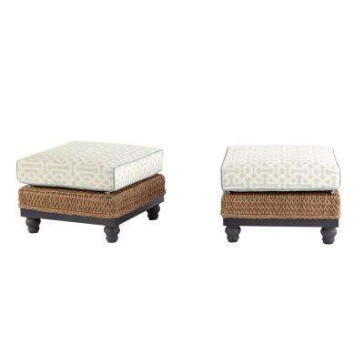 Camden Light Brown Wicker Outdoor Ottoman with Sunbrella Fretwork Mist Cushion