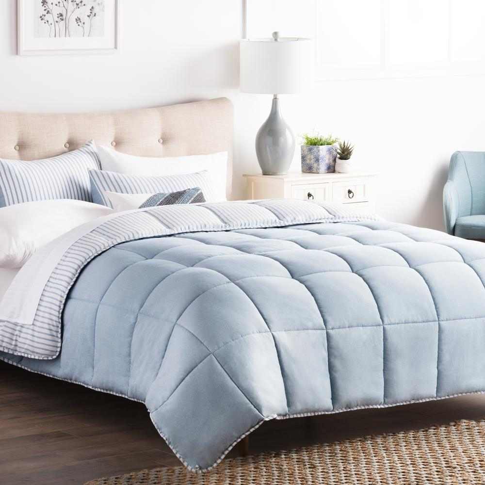 Striped Reversible Calm Sea Oversized King Chambray Comforter Set