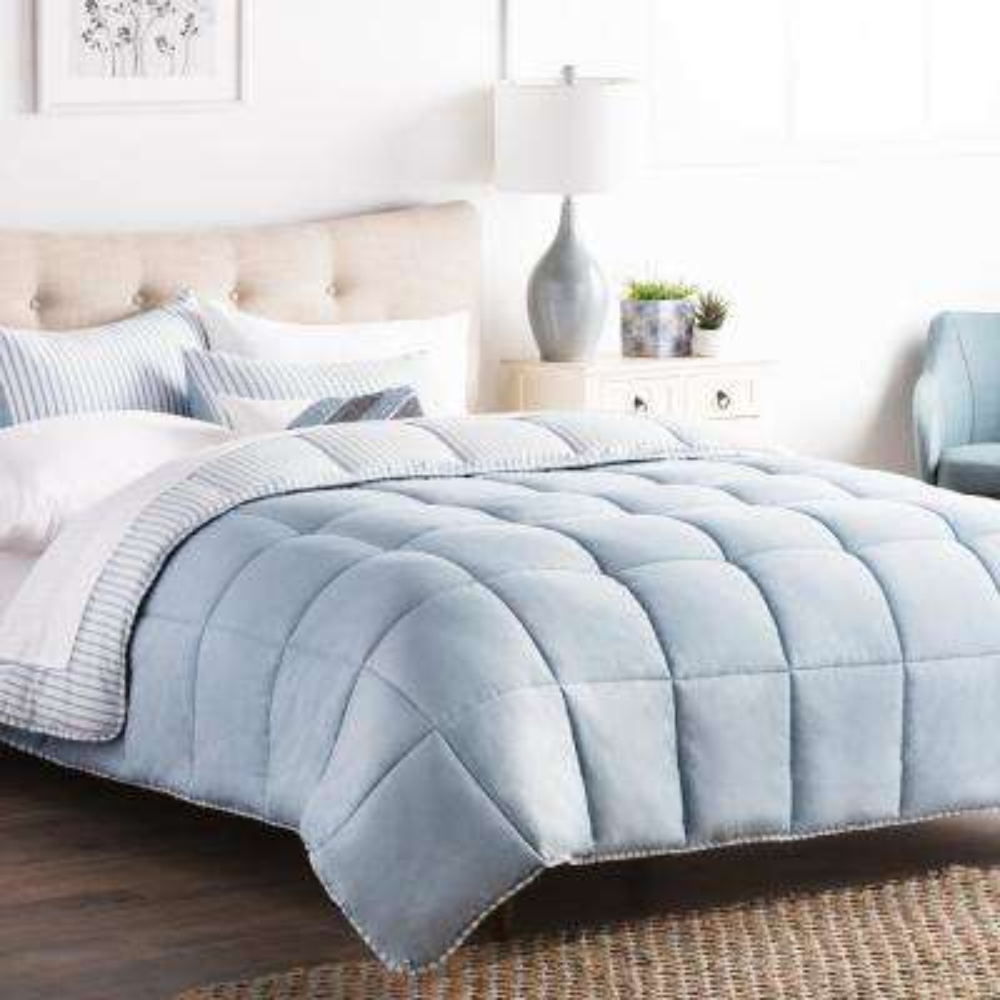 Striped Reversible Calm Sea Twin Chambray Comforter Set