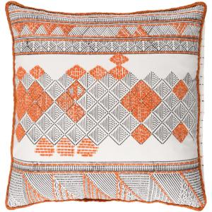 Lanasol Orange Geometric Polyester 18 in. x 18 in. Throw Pillow