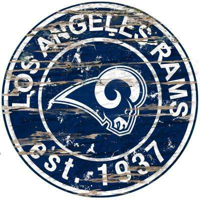 """24"""" NFL Los Angeles Rams Round Distressed Sign"""
