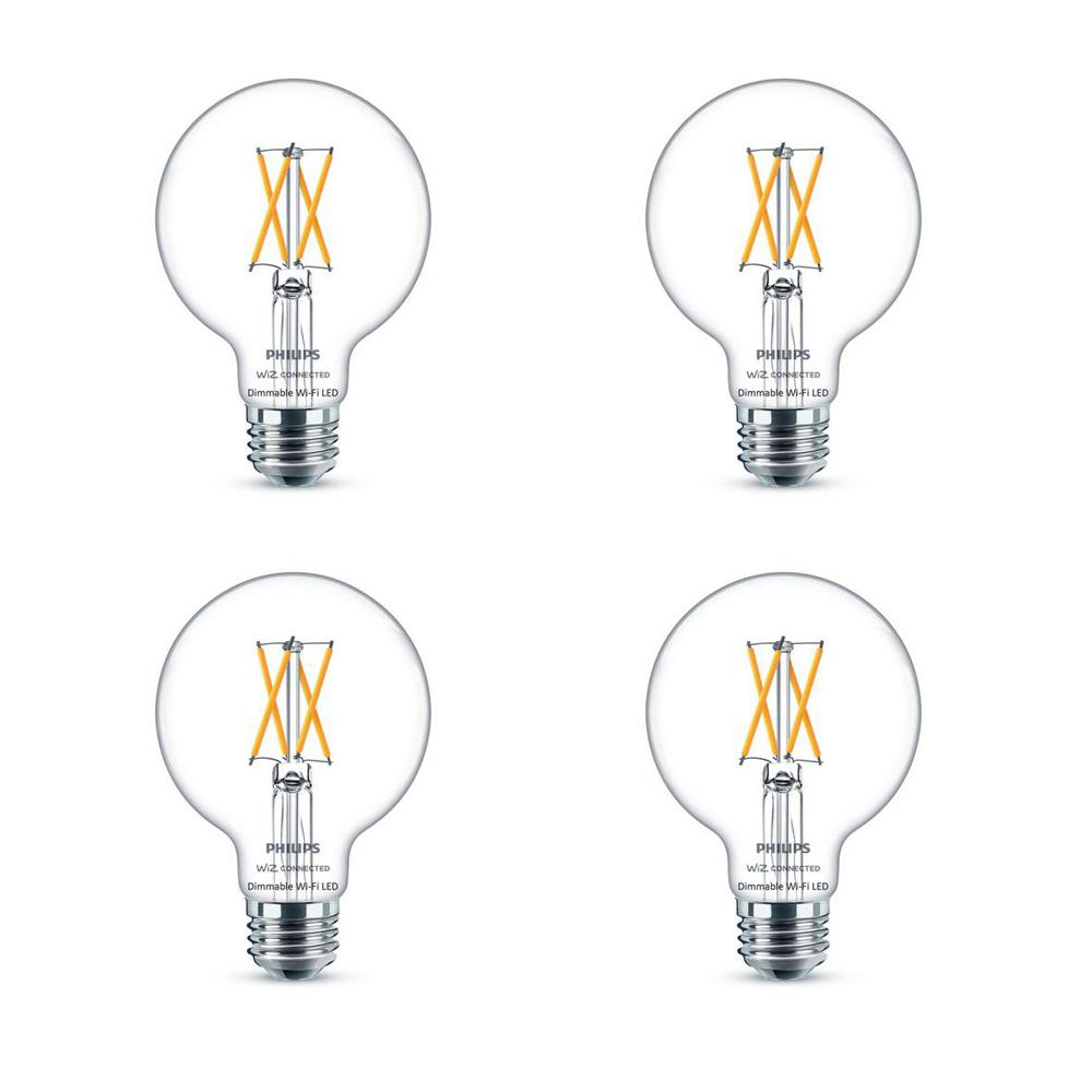 Philips Soft White G25 LED 40-Watt Equivalent Dimmable Smart Wi-Fi Wiz Connected Wireless Light Bulb (4-Pack)