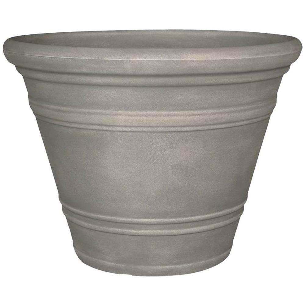 Planters Online 40 in. Round Dove Gray Resin Pienza Planter