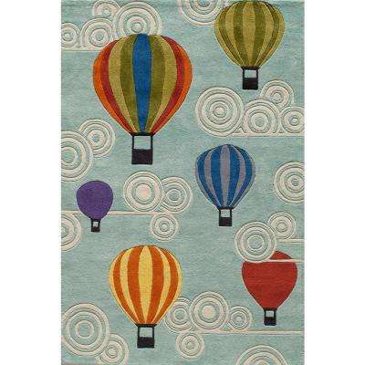 Caprice Hot Air Balloons Blue 5 ft. x 7 ft. Indoor Area Rug