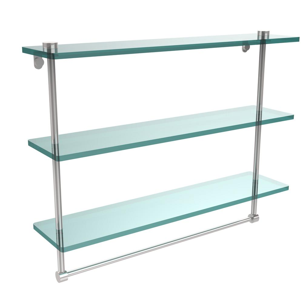 Allied Brass 22 in. L  x 18 in. H  x 5 in. W 3-Tier Clear Glass Bathroom Shelf with Towel Bar in Polished Chrome