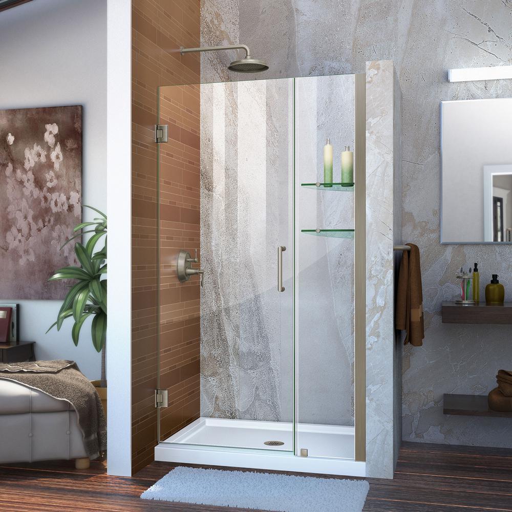 Unidoor 40 in. to 41 in. x 72 in. Semi-Framed Hinged Shower Door in Brushed Nickel with Glass Shelves