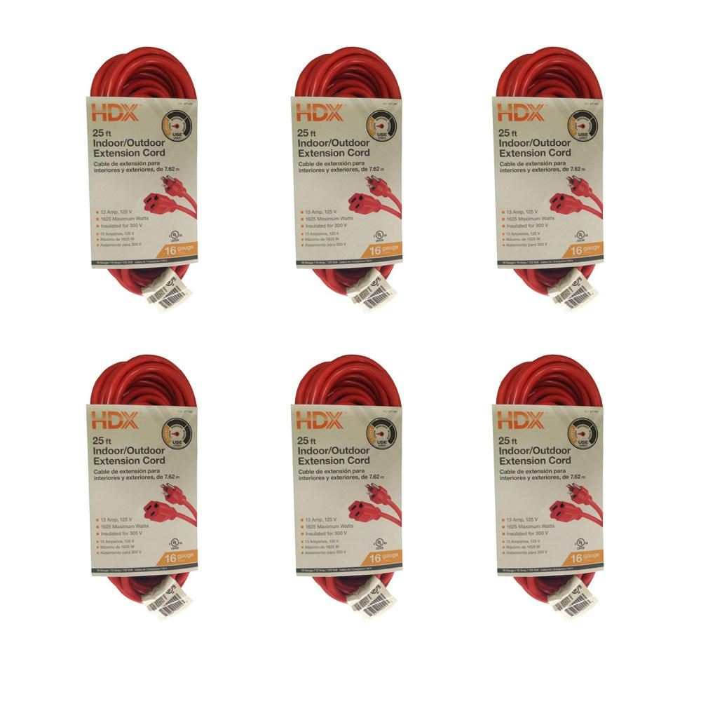 25 ft. 16/3 Light-Duty Indoor/Outdoor Extension Cord (6-Pack)