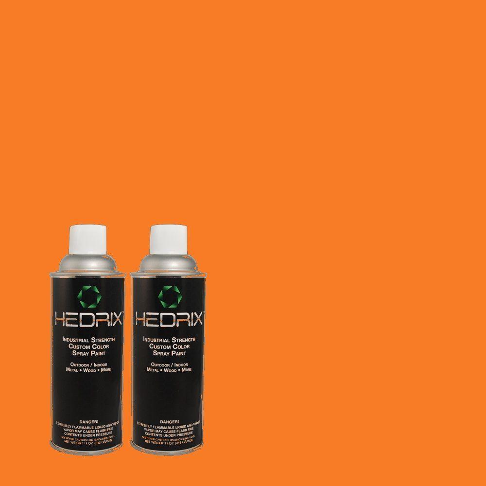 Hedrix 11 oz. Match of 230B-7 Kumquat Flat Custom Spray Paint (2-Pack)