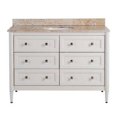 West Bay 49 in. W x 22 in. D Vanity in Cream with Stone Effects Vanity Top in Tuscan Sun with White Basin