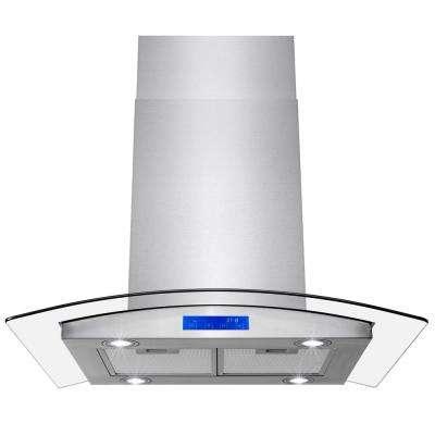 30 in. 343 CFM Convertible Island Mount Range Hood with LEDs and Touch Panel in Stainless Steel