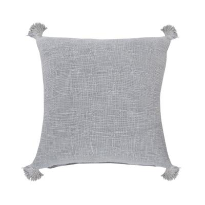 Casual Soft Blue Solid Tasseled Soft Poly-Fill 20 in. x 20 in. Throw Pillow