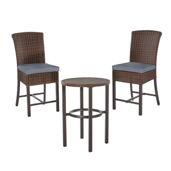 Harper Creek Brown 3-Piece Steel Outdoor Patio Bar Height Dining Set with CushionGuard Steel Blue Cushions