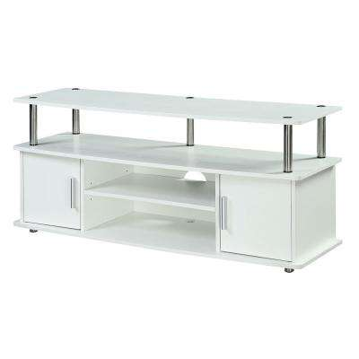 Monterey 47 in. White Composite TV Stand Fits TVs Up to 46 in. with Storage Doors