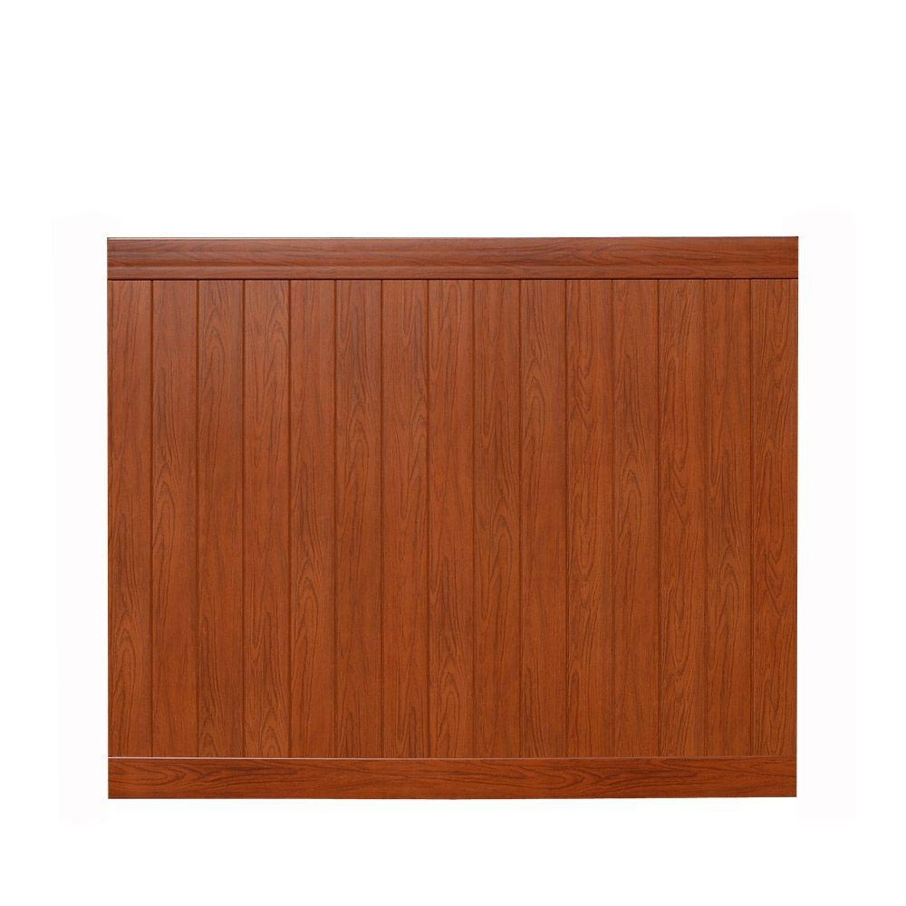 Veranda Pro Series 6 ft. H x 8 ft. W Rosewood Vinyl Anaheim Privacy Fence Panel