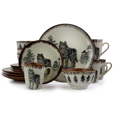 Majestic Wolf 16-Piece Taupe Round Stoneware Dinnerware Set (Service for 4)