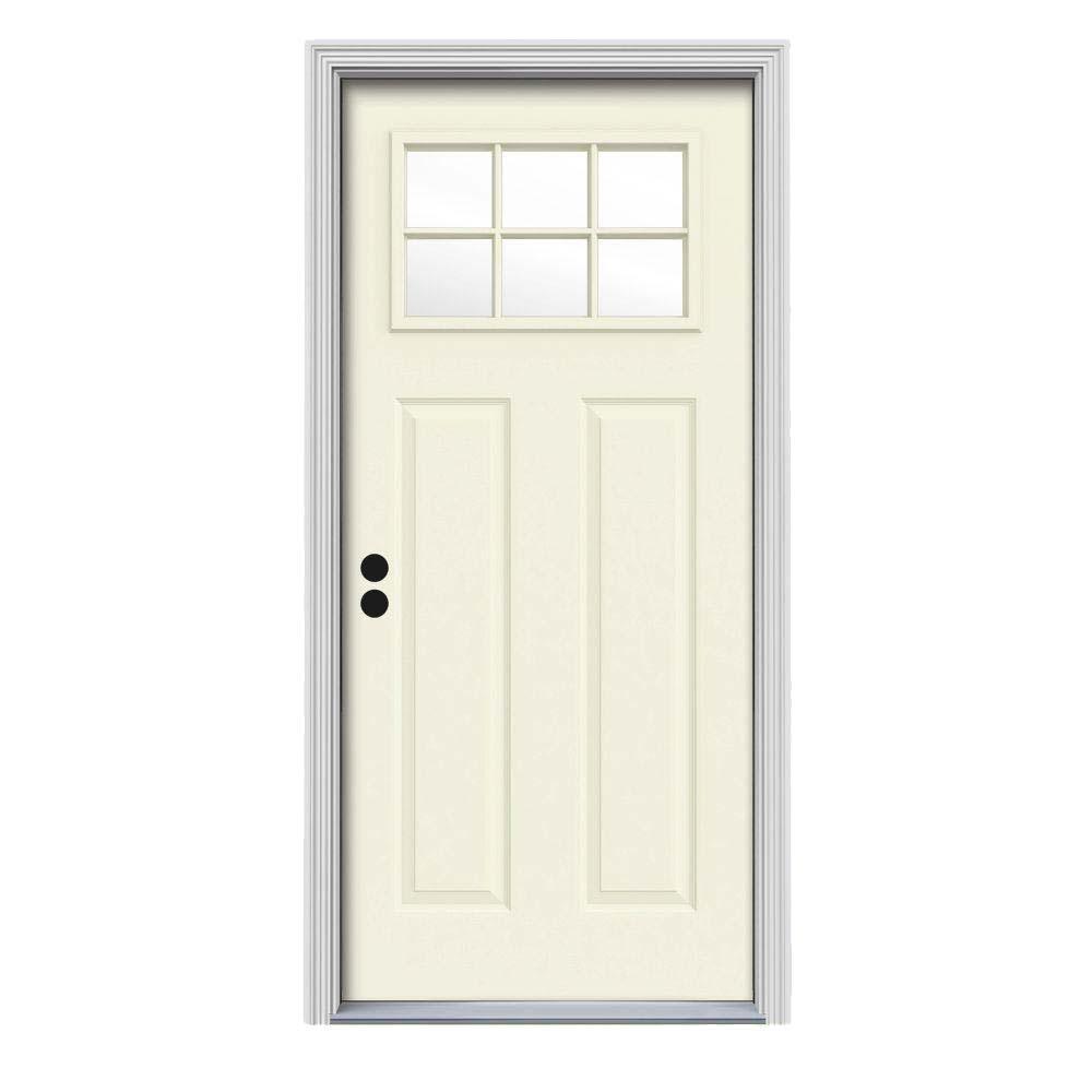 34 in. x 80 in. 6 Lite Craftsman Vanilla Painted Steel Prehung Right-Hand Inswing Front Door w/Brickmould