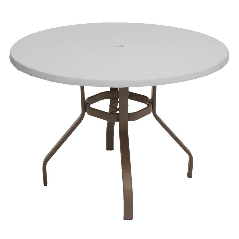 Etonnant Brownstone Round Commercial Fiberglass Patio Dining Table