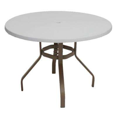 Marco Island 42 in. Brownstone Round Commercial Fiberglass Patio Dining Table