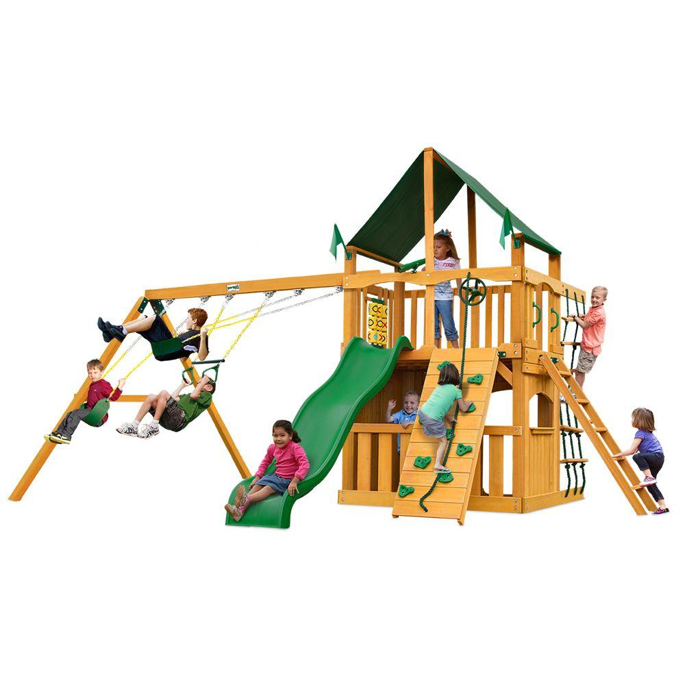 Chateau Clubhouse with Amber Posts and Sunbrella Canvas Forest Green Canopy