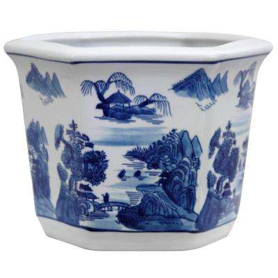 Oriental Furniture 10 in. Landscape Blue and White Porcelain Flower Pot
