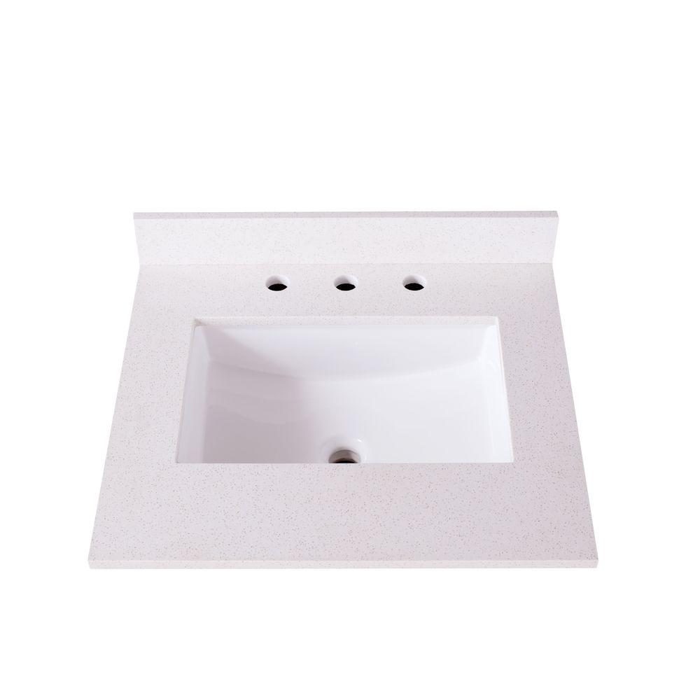 W Quartz Vanity Top With Basin In White-DT3025-40W - The Home Depot