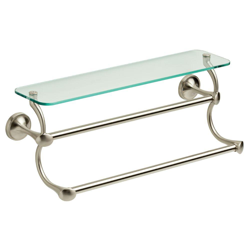 Double Towel Bar Bathroom Rack 18 in Glass Shelf Brushed Nickel Cell ...
