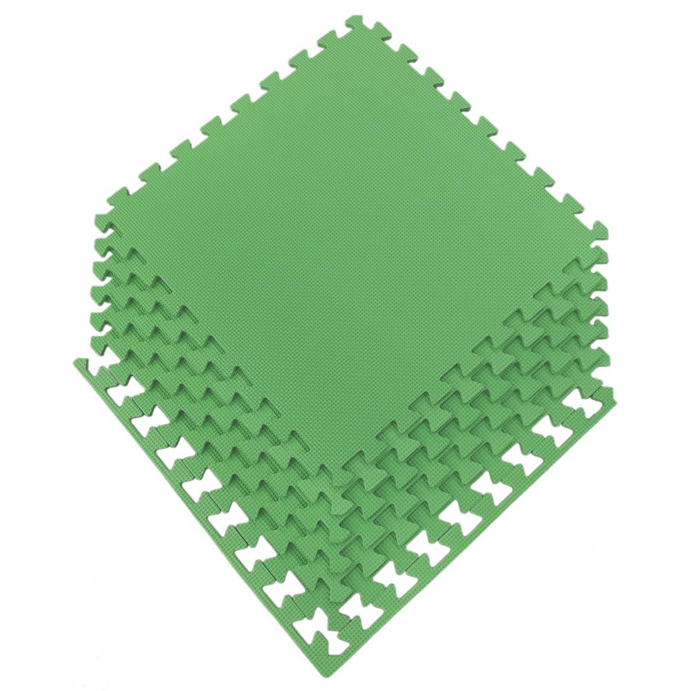 Multi-Purpose Green 24 in. x 24 in. EVA Foam Interlocking Anti-Fatigue