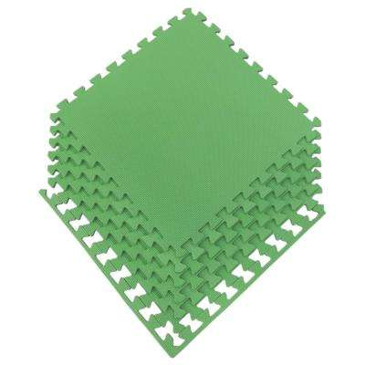 Multi-Purpose Green 24 in. x 24 in. EVA Foam Interlocking Anti-Fatigue Exercise Tile Mat (6-Pack)