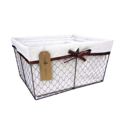 17 in. W x 14 in. D x 9 in. H Lined Wire Nested Baskets (Set of 3)