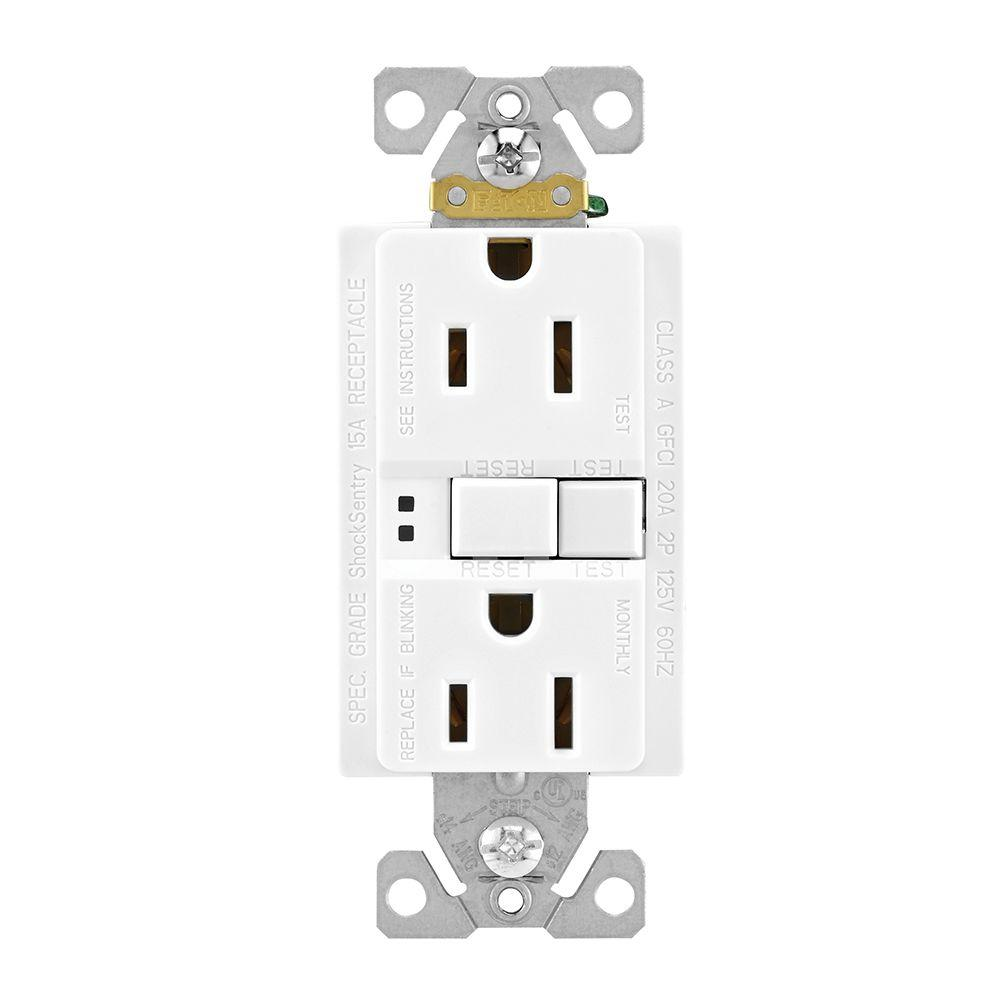 Eaton GFCI Self-Test 15A -125V Duplex Receptacle with Standard Size Wallplate, White