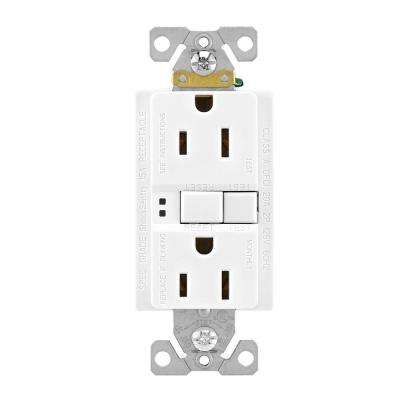 GFCI Self-Test 15A -125V Duplex Receptacle with Standard Size Wallplate, White