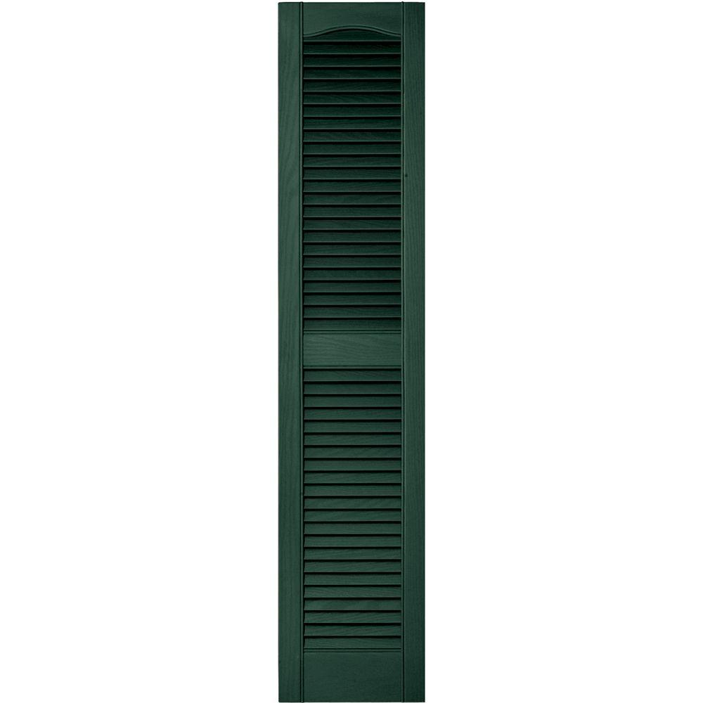 Builders Edge 12 in. x 55 in. Louvered Vinyl Exterior Shutters Pair in #028 Forest Green