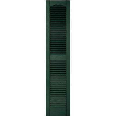 12 in. x 55 in. Louvered Vinyl Exterior Shutters Pair in #028 Forest Green