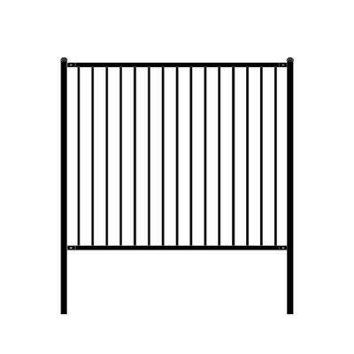Lyon Style 5 ft. x 6 ft. Black Unassembled Steel Fence Panel