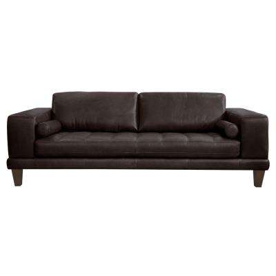 Armen Living Genuine Espresso Leather Contemporary Sofa with Brown Wood Legs
